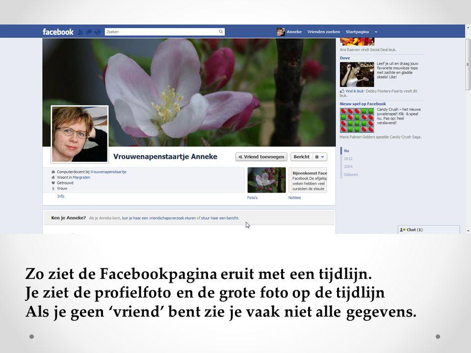 Zo ziet de Facebookpagina eruit met een tijdlijn. Je ziet de profielfoto en de grote foto op de tijdlijn Als je geen 'vriend' bent zie je vaak niet al