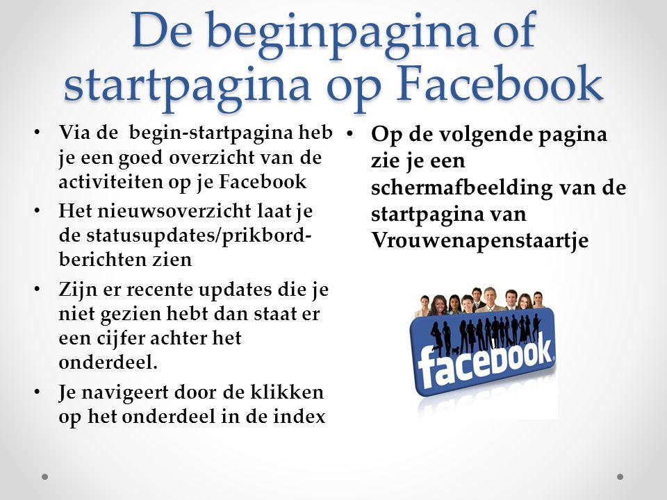 De beginpagina of startpagina op Facebook Op de volgende pagina zie je een schermafbeelding van de startpagina van Vrouwenapenstaartje Via de begin-st