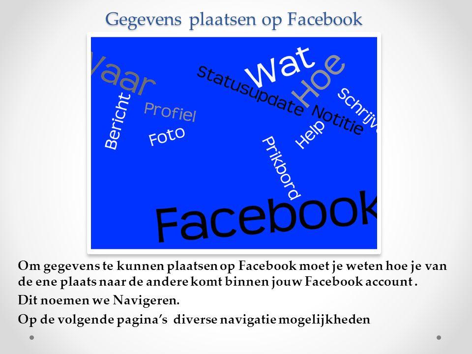Gegevens plaatsen op Facebook Om gegevens te kunnen plaatsen op Facebook moet je weten hoe je van de ene plaats naar de andere komt binnen jouw Facebo