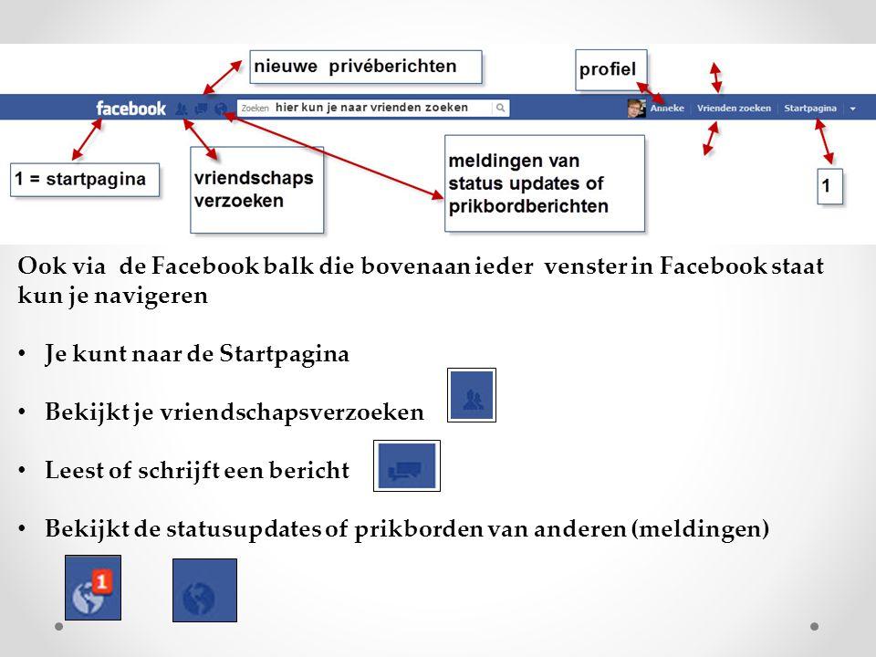 Ook via de Facebook balk die bovenaan ieder venster in Facebook staat kun je navigeren Je kunt naar de Startpagina Bekijkt je vriendschapsverzoeken Le