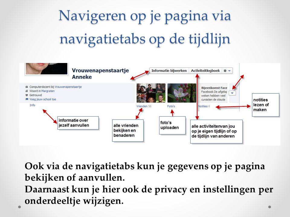 Navigeren op je pagina via navigatietabs op de tijdlijn Ook via de navigatietabs kun je gegevens op je pagina bekijken of aanvullen. Daarnaast kun je