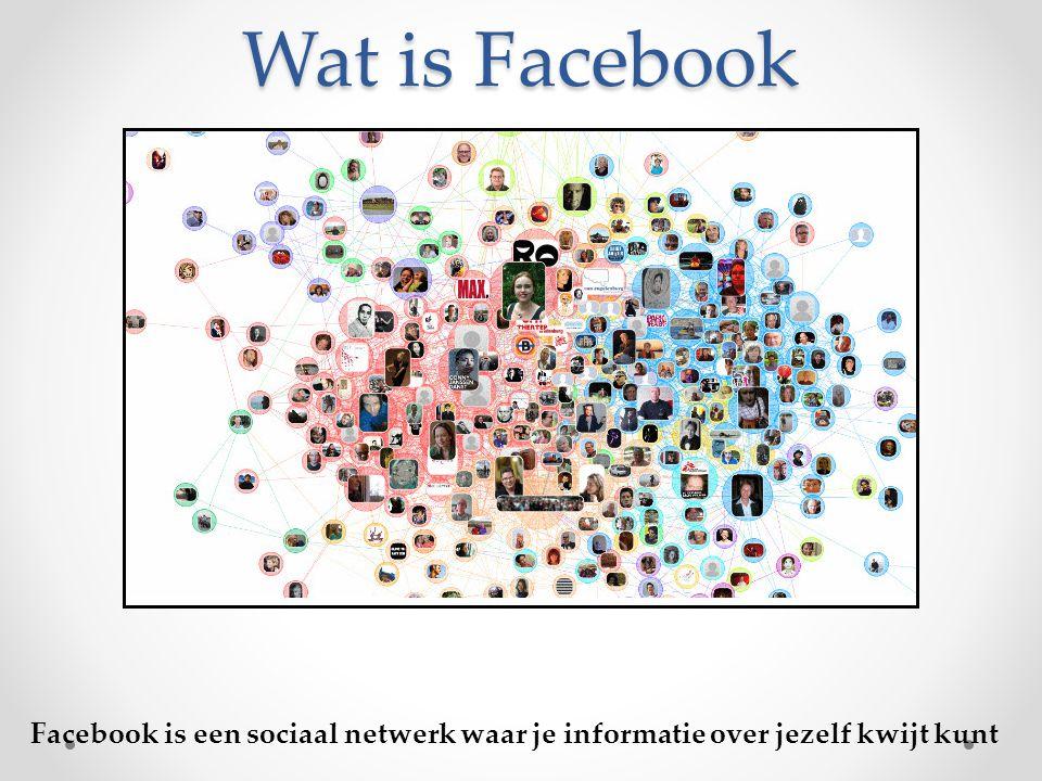 Wat is Facebook Facebook is een sociaal netwerk waar je informatie over jezelf kwijt kunt