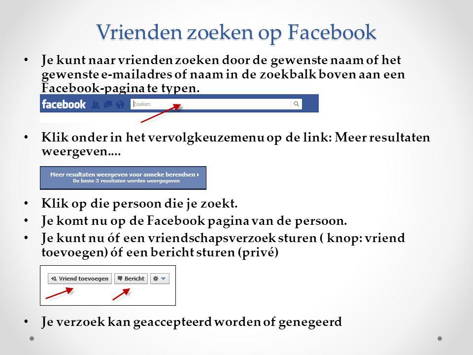 Vrienden zoeken op Facebook Je kunt naar vrienden zoeken door de gewenste naam of het gewenste e-mailadres of naam in de zoekbalk boven aan een Facebo