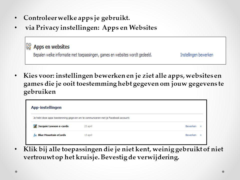 Controleer welke apps je gebruikt. via Privacy instellingen: Apps en Websites Kies voor: instellingen bewerken en je ziet alle apps, websites en games