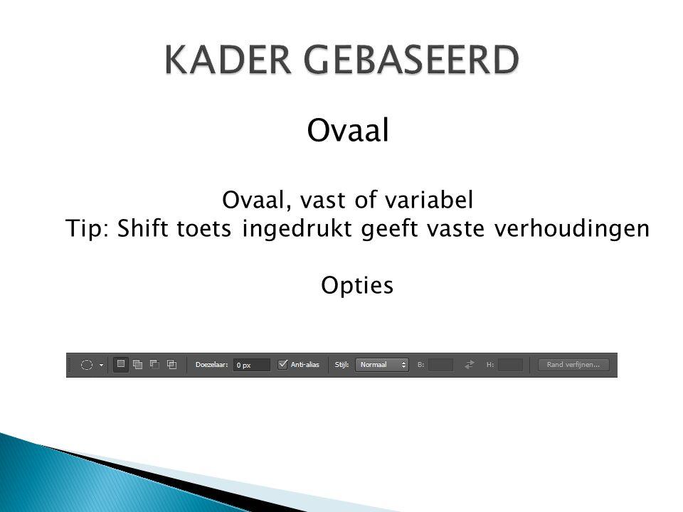Ovaal Ovaal, vast of variabel Tip: Shift toets ingedrukt geeft vaste verhoudingen Opties