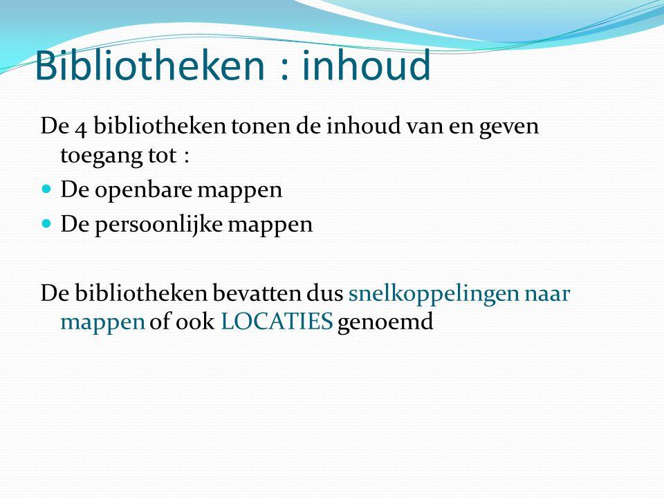 Bibliotheken : inhoud De 4 bibliotheken tonen de inhoud van en geven toegang tot : De openbare mappen De persoonlijke mappen De bibliotheken bevatten