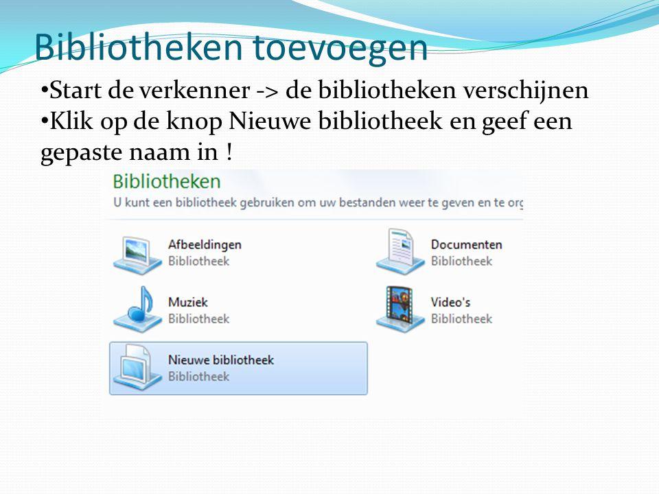 Bibliotheken toevoegen Start de verkenner -> de bibliotheken verschijnen Klik op de knop Nieuwe bibliotheek en geef een gepaste naam in !