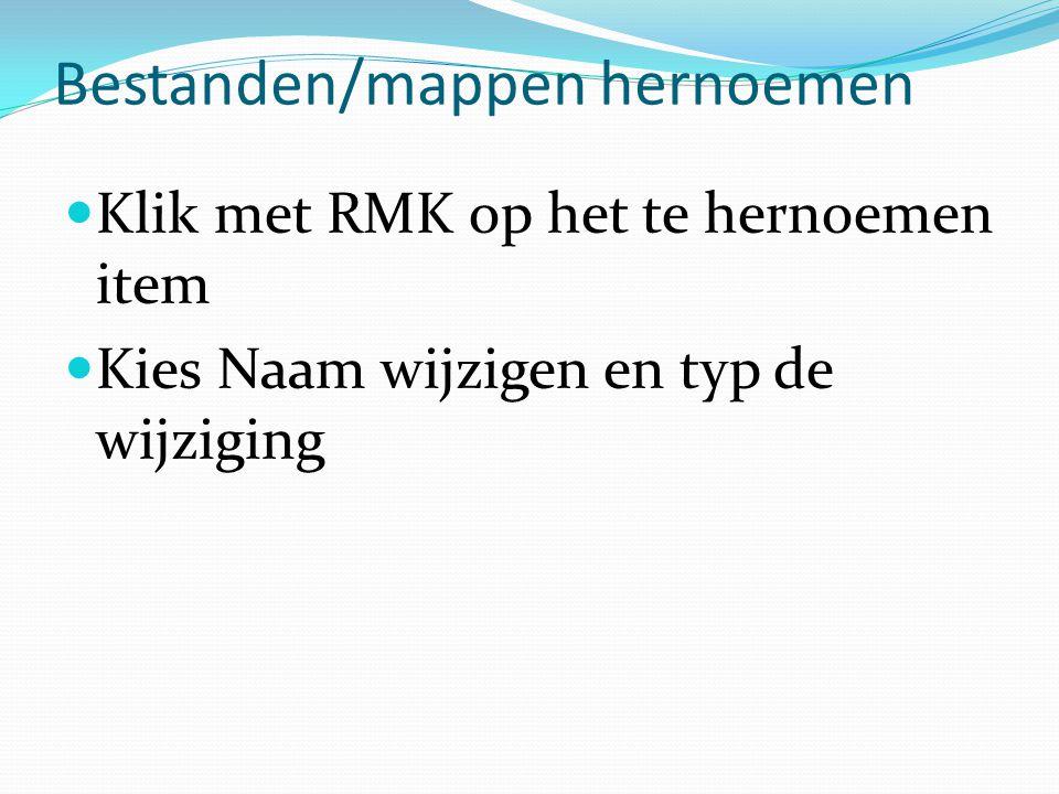 Bestanden/mappen hernoemen Klik met RMK op het te hernoemen item Kies Naam wijzigen en typ de wijziging