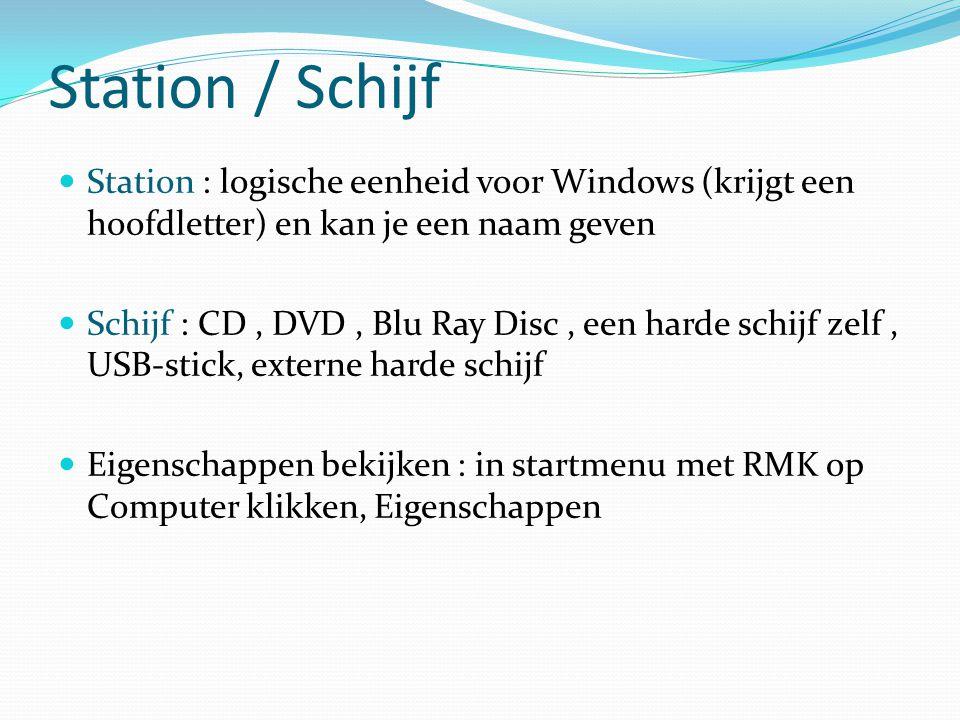 Station / Schijf Station : logische eenheid voor Windows (krijgt een hoofdletter) en kan je een naam geven Schijf : CD, DVD, Blu Ray Disc, een harde s