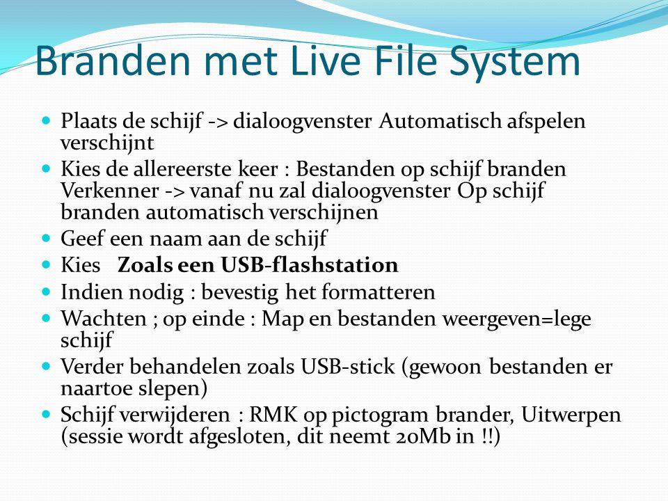 Branden met Live File System Plaats de schijf -> dialoogvenster Automatisch afspelen verschijnt Kies de allereerste keer : Bestanden op schijf branden