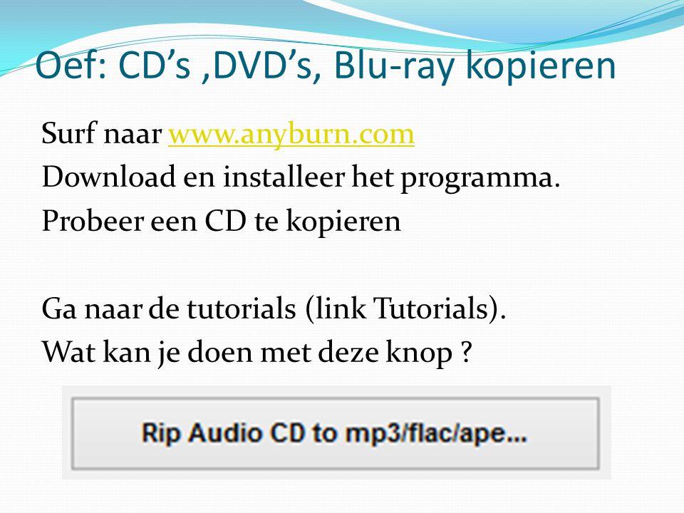 Oef: CD's,DVD's, Blu-ray kopieren Surf naar www.anyburn.comwww.anyburn.com Download en installeer het programma. Probeer een CD te kopieren Ga naar de