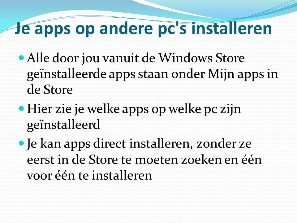 Je apps op andere pc's installeren Alle door jou vanuit de Windows Store geïnstalleerde apps staan onder Mijn apps in de Store Hier zie je welke apps
