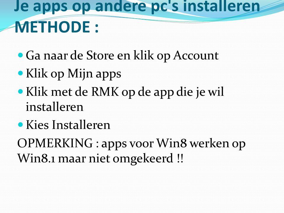Je apps op andere pc's installeren METHODE : Ga naar de Store en klik op Account Klik op Mijn apps Klik met de RMK op de app die je wil installeren Ki