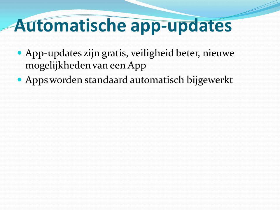 Automatische app-updates App-updates zijn gratis, veiligheid beter, nieuwe mogelijkheden van een App Apps worden standaard automatisch bijgewerkt