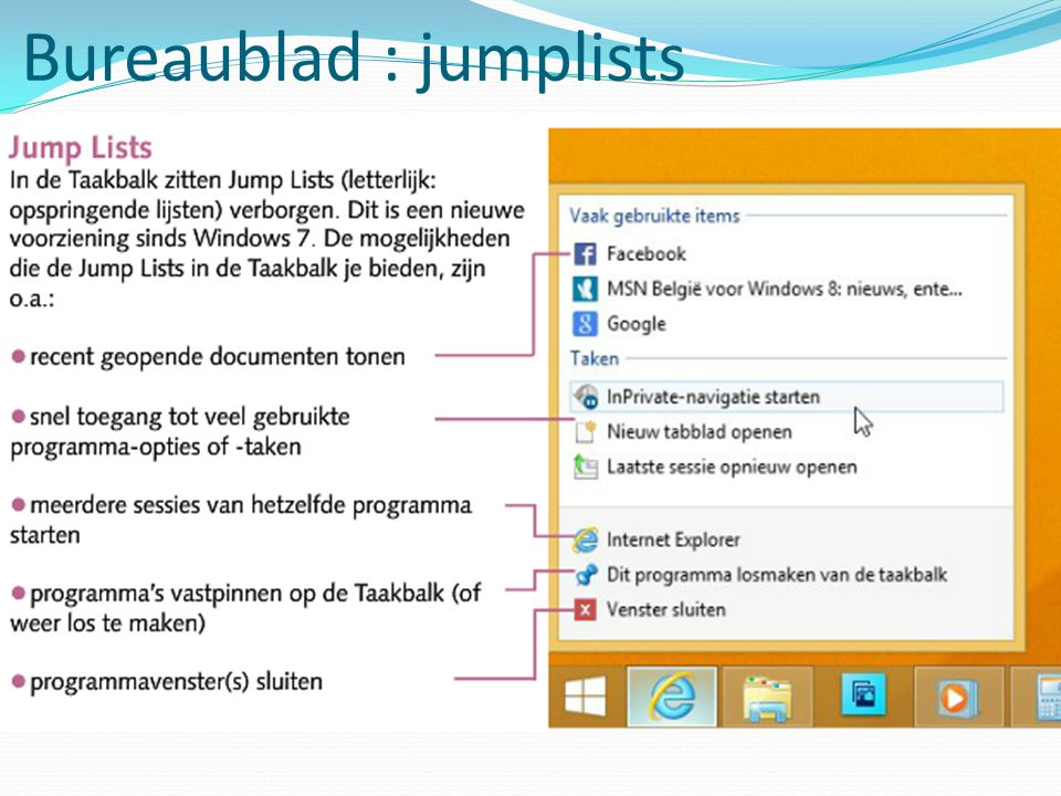 Bureaublad : jumplists