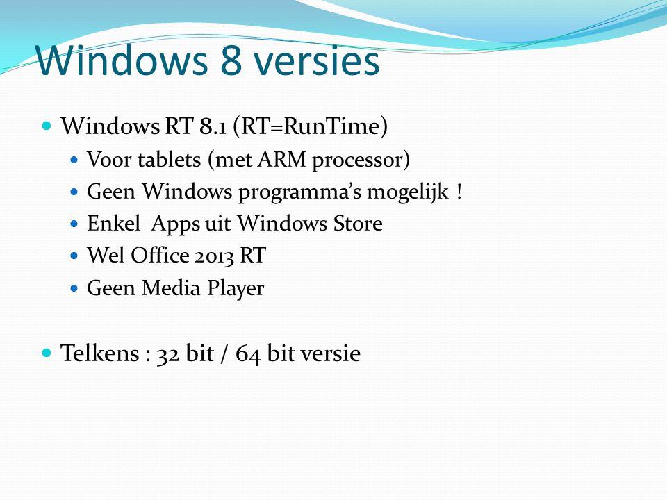 Windows 8 versies Windows 8.1 Voor consumenten Alle Windows programma's mogelijk Geen Windows Media Center Opvolger van Win 7 Starter, Home Basic en Home Premium Telkens : 32 bit / 64 bit versie