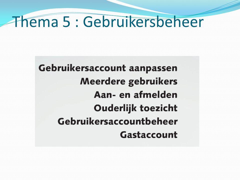Thema 5 : Gebruikersbeheer
