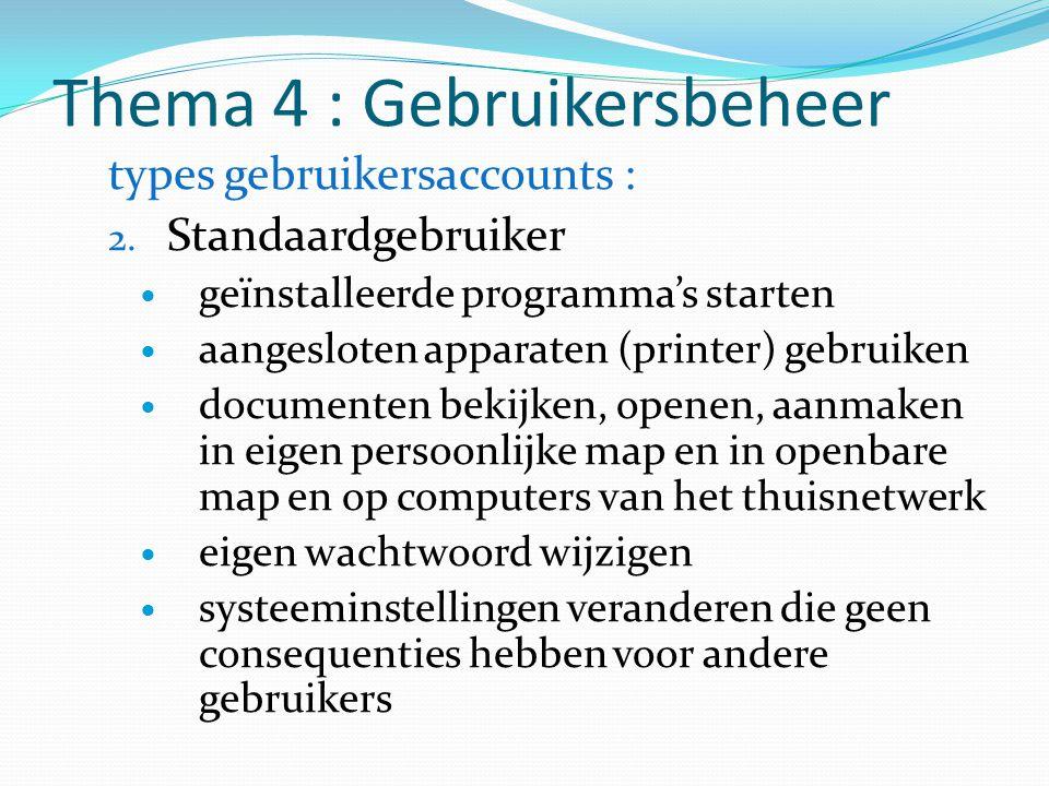 Thema 4 : Gebruikersbeheer types gebruikersaccounts : 2. Standaardgebruiker geïnstalleerde programma's starten aangesloten apparaten (printer) gebruik
