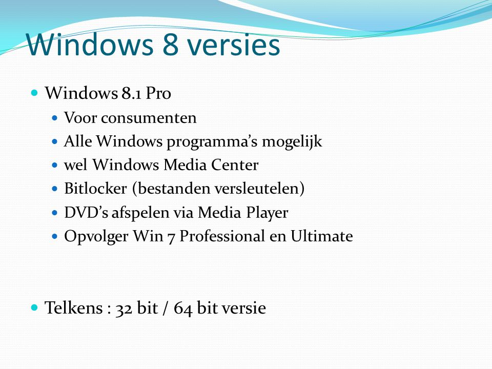 Harde schijf (HDD) Bevat meestal Windows Databus (=snelweg tussen processor-RAM-HDD) Vroeger : ATA (=IDE) : 100 à 133 Mb/s Nu : SATA : 1,5 of 3 of 6 Gb/s Rotatiesnelheid : 5400 rpm, 7200 rpm, 10000 rpm, 15000 rpm Magnetisch of Solid State