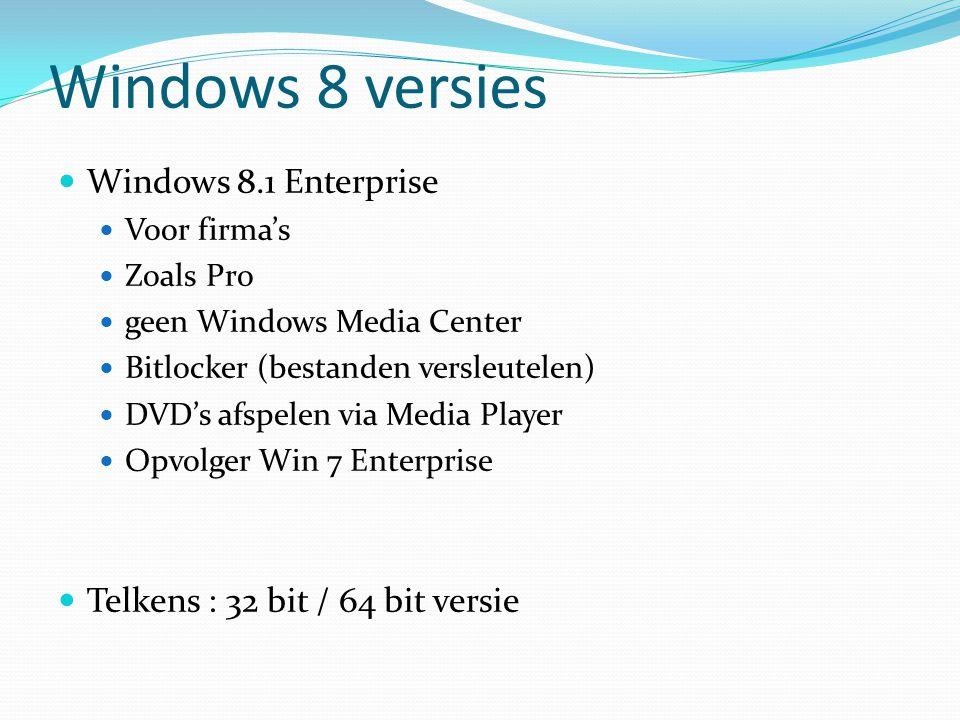 Gebruikersaccountbeheer UAC (user account control) Veiligheidsagent in Windows 8 Was overdreven in Vista In Win8 kan je zelf bepalen hoe streng Als administrator kan je toch niet alles doen Bij software installeren : toch waarschuwingen !