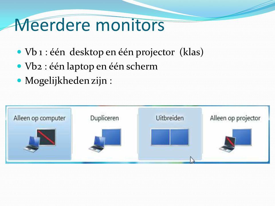 Meerdere monitors Vb 1 : één desktop en één projector (klas) Vb2 : één laptop en één scherm Mogelijkheden zijn :