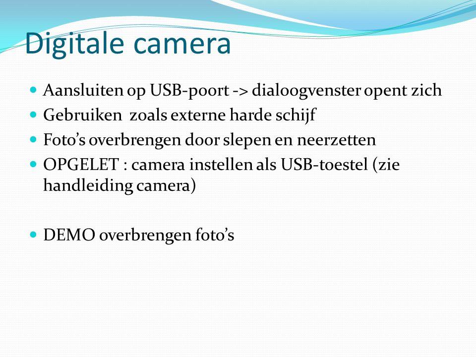 Digitale camera Aansluiten op USB-poort -> dialoogvenster opent zich Gebruiken zoals externe harde schijf Foto's overbrengen door slepen en neerzetten