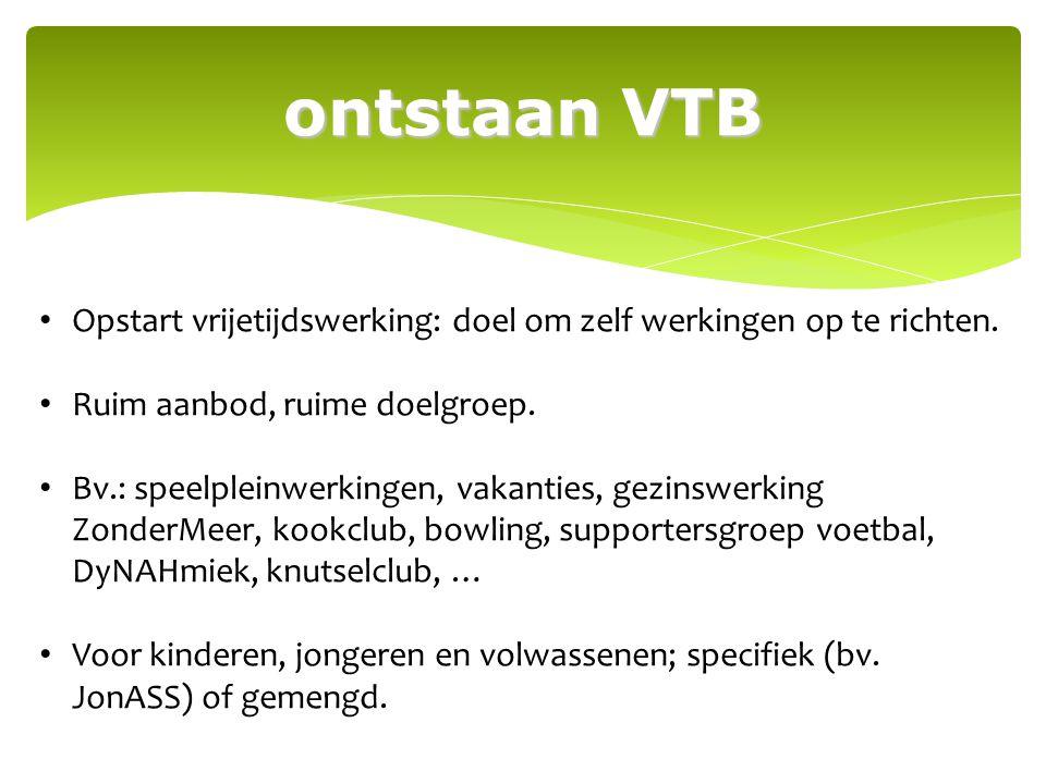 ontstaan VTB Opstart vrijetijdswerking: doel om zelf werkingen op te richten. Ruim aanbod, ruime doelgroep. Bv.: speelpleinwerkingen, vakanties, gezin