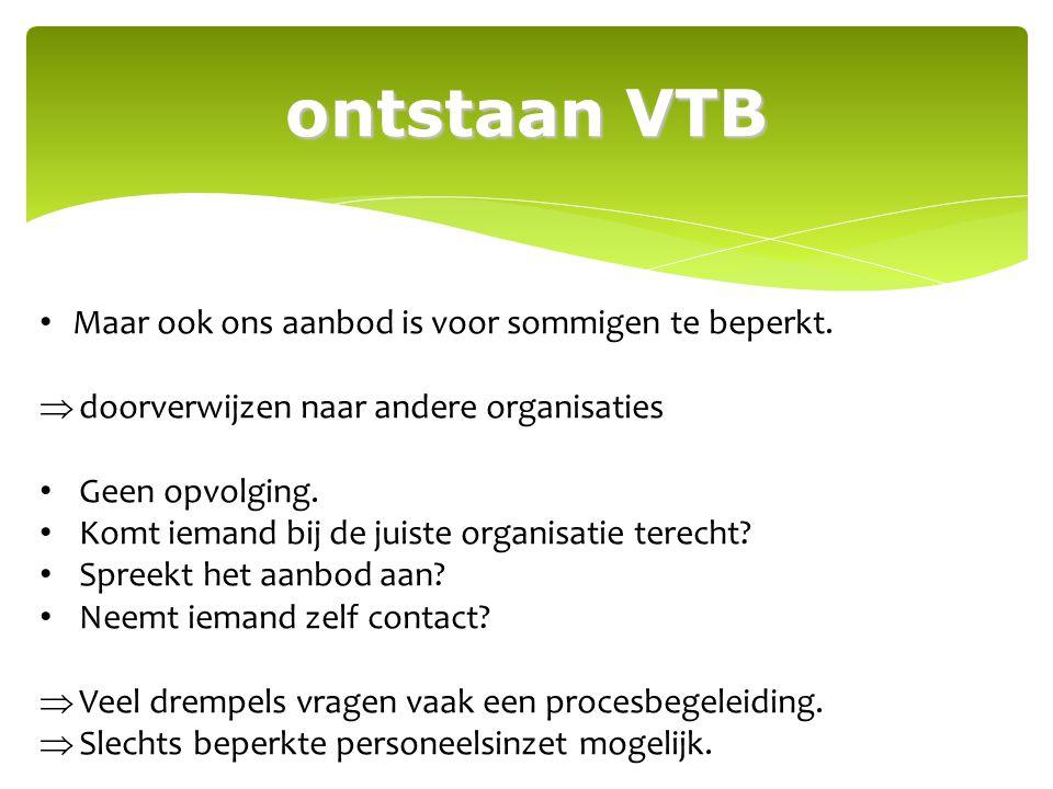 ontstaan VTB signaalfunctie overleg met de erkende VTZO's beleid 4 erkende VTZO's Vlaams-Brabant sloegen de handen in elkaar.