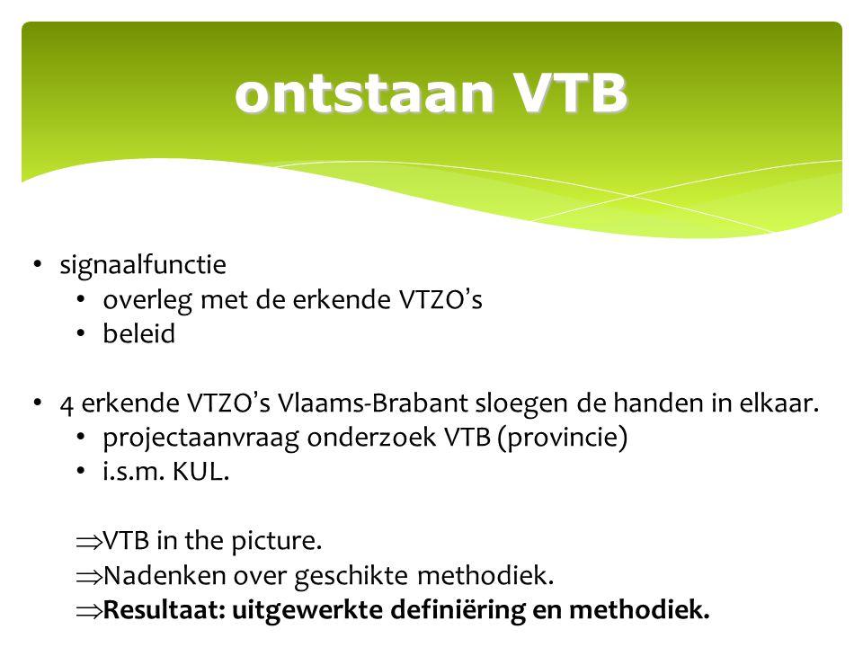 ontstaan VTB signaalfunctie overleg met de erkende VTZO's beleid 4 erkende VTZO's Vlaams-Brabant sloegen de handen in elkaar. projectaanvraag onderzoe