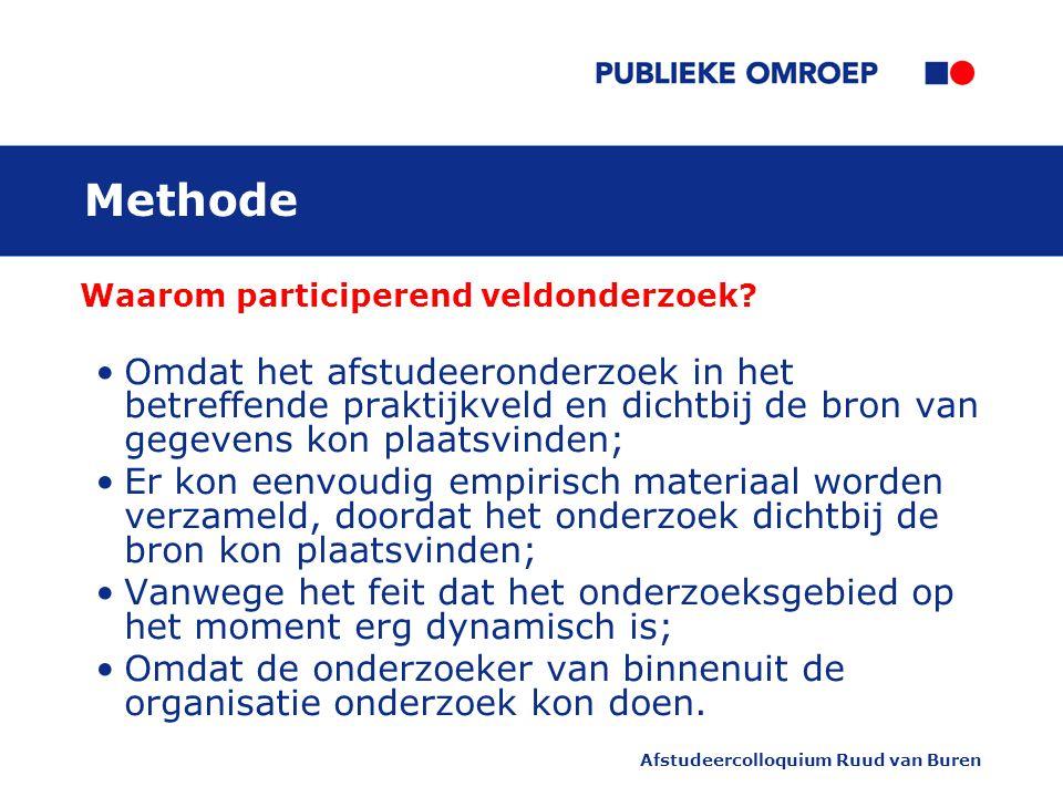 Afstudeercolloquium Ruud van Buren Methode Waarom participerend veldonderzoek.