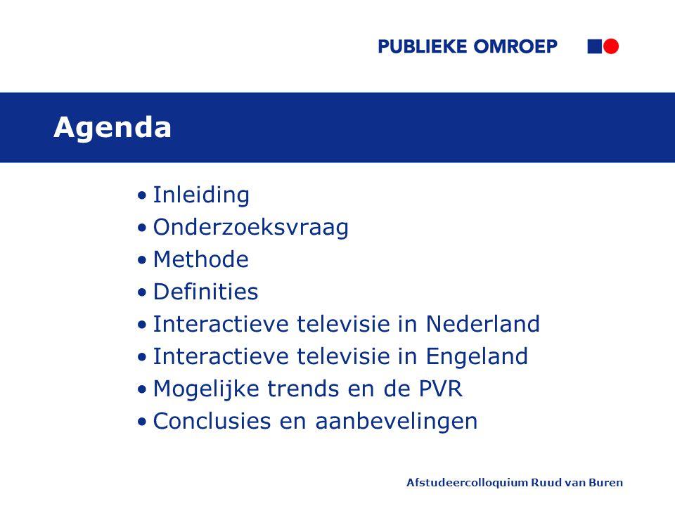 Agenda Inleiding Onderzoeksvraag Methode Definities Interactieve televisie in Nederland Interactieve televisie in Engeland Mogelijke trends en de PVR Conclusies en aanbevelingen