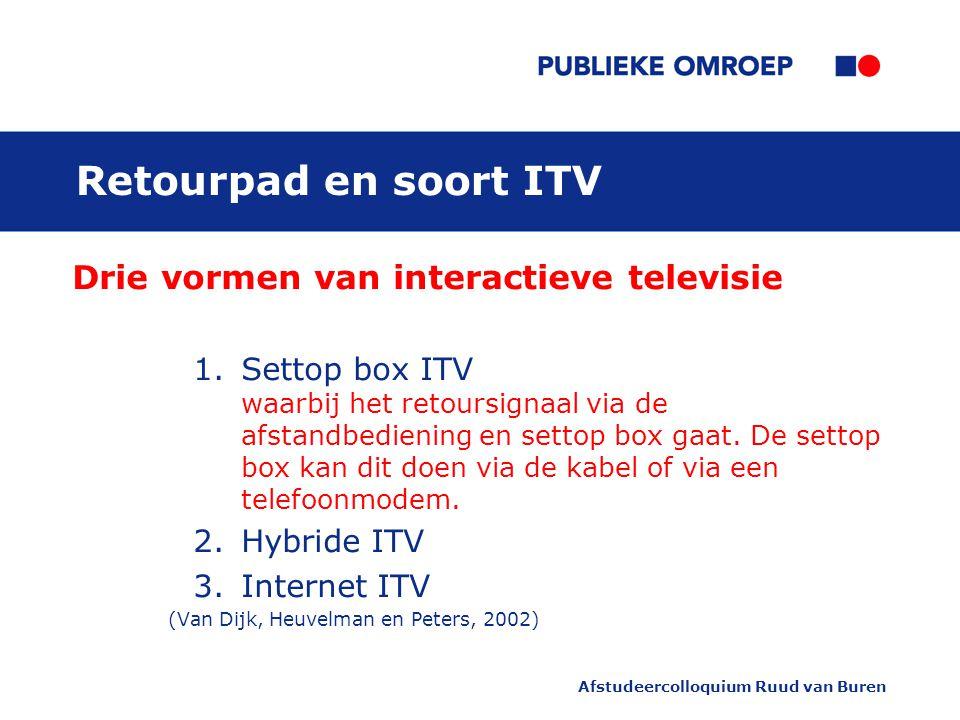 Afstudeercolloquium Ruud van Buren Retourpad en soort ITV Drie vormen van interactieve televisie 1.Settop box ITV waarbij het retoursignaal via de afstandbediening en settop box gaat.
