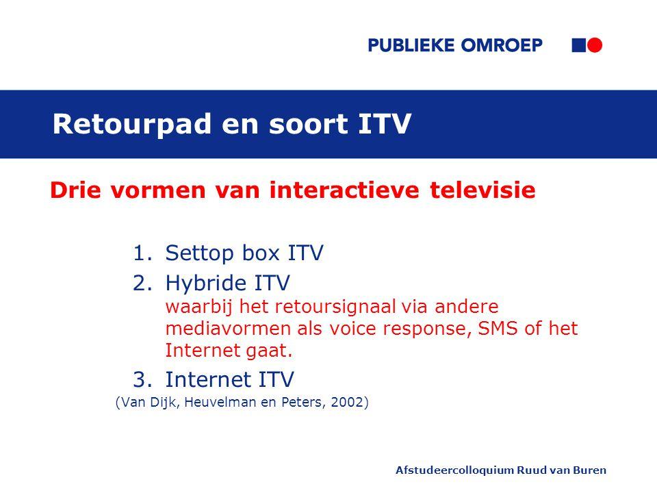 Afstudeercolloquium Ruud van Buren Retourpad en soort ITV Drie vormen van interactieve televisie 1.Settop box ITV 2.Hybride ITV waarbij het retoursignaal via andere mediavormen als voice response, SMS of het Internet gaat.