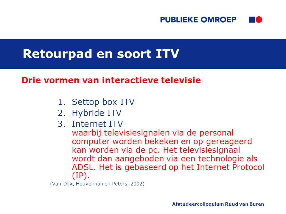 Afstudeercolloquium Ruud van Buren Retourpad en soort ITV Drie vormen van interactieve televisie 1.Settop box ITV 2.Hybride ITV 3.Internet ITV waarbij televisiesignalen via de personal computer worden bekeken en op gereageerd kan worden via de pc.