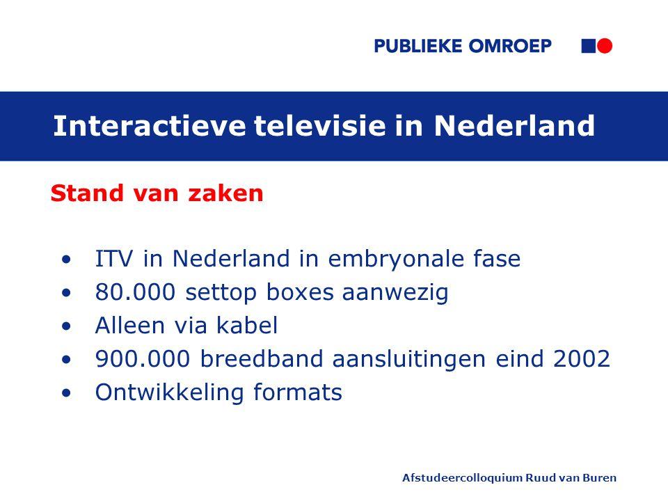 Afstudeercolloquium Ruud van Buren Interactieve televisie in Nederland Stand van zaken ITV in Nederland in embryonale fase 80.000 settop boxes aanwezig Alleen via kabel 900.000 breedband aansluitingen eind 2002 Ontwikkeling formats