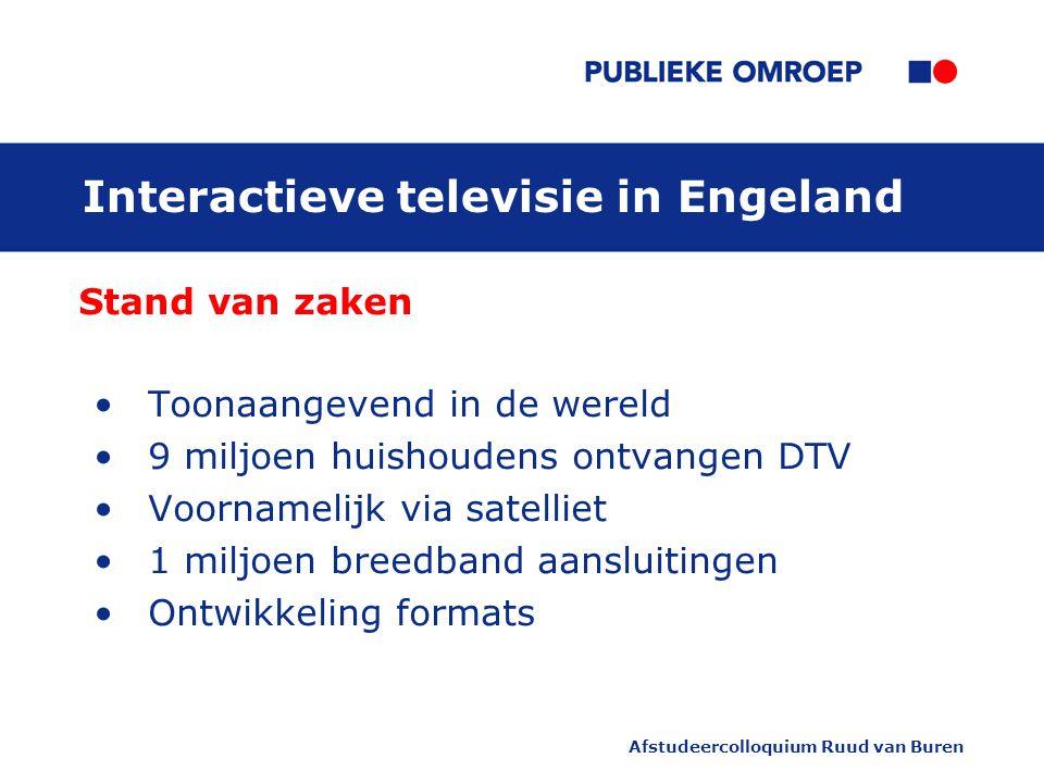 Afstudeercolloquium Ruud van Buren Interactieve televisie in Engeland Stand van zaken Toonaangevend in de wereld 9 miljoen huishoudens ontvangen DTV Voornamelijk via satelliet 1 miljoen breedband aansluitingen Ontwikkeling formats