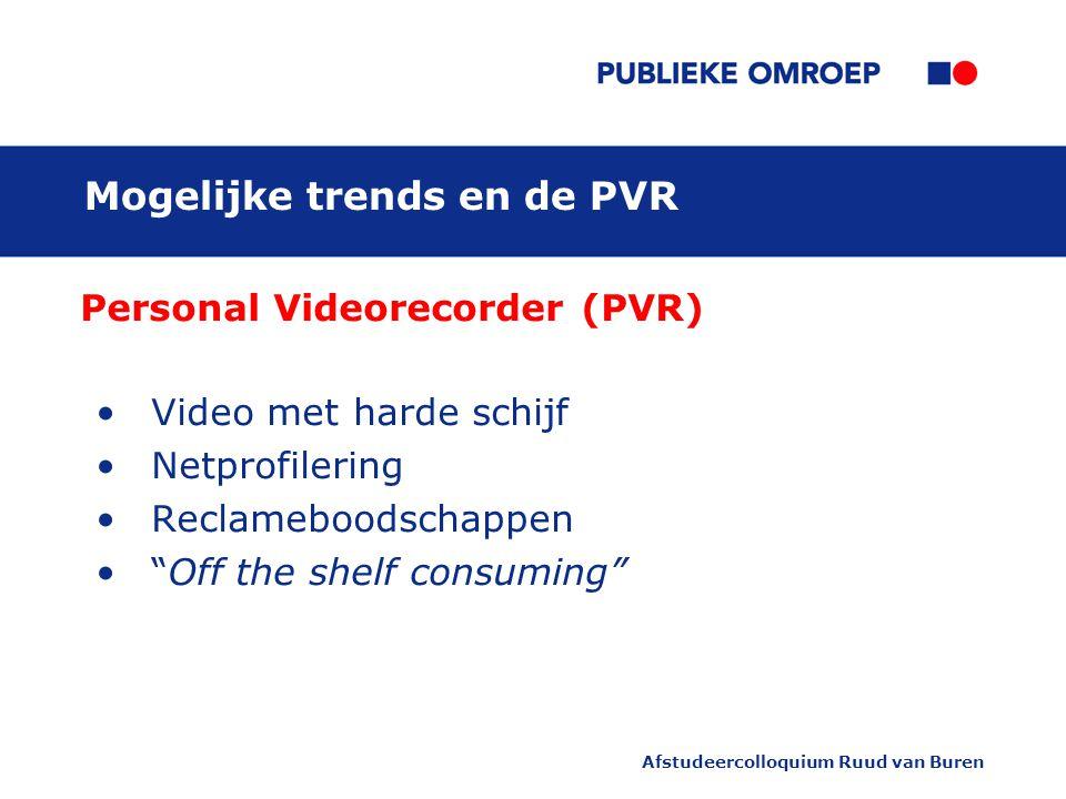 """Afstudeercolloquium Ruud van Buren Mogelijke trends en de PVR Personal Videorecorder (PVR) Video met harde schijf Netprofilering Reclameboodschappen """""""