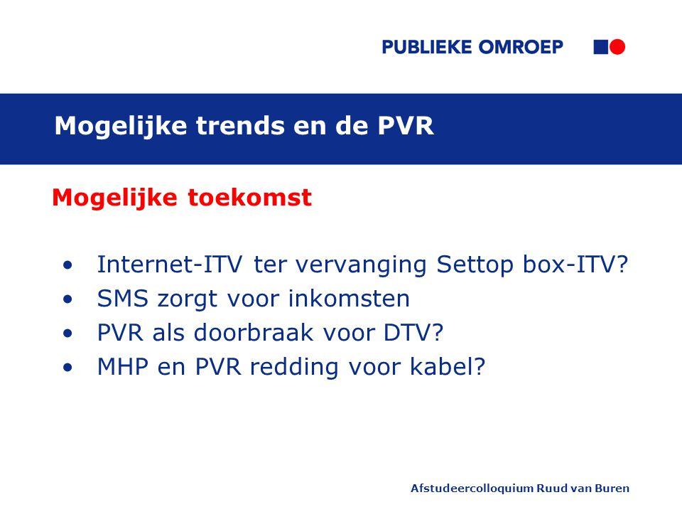 Afstudeercolloquium Ruud van Buren Mogelijke trends en de PVR Mogelijke toekomst Internet-ITV ter vervanging Settop box-ITV.