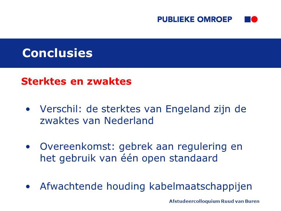 Afstudeercolloquium Ruud van Buren Conclusies Sterktes en zwaktes Verschil: de sterktes van Engeland zijn de zwaktes van Nederland Overeenkomst: gebrek aan regulering en het gebruik van één open standaard Afwachtende houding kabelmaatschappijen