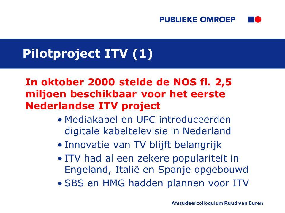 Afstudeercolloquium Ruud van Buren Pilotproject ITV (1) In oktober 2000 stelde de NOS fl.