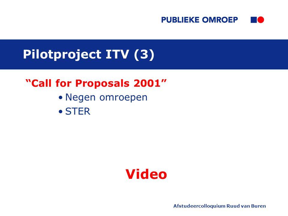 Afstudeercolloquium Ruud van Buren Pilotproject ITV (3) Call for Proposals 2001 Negen omroepen STER Video