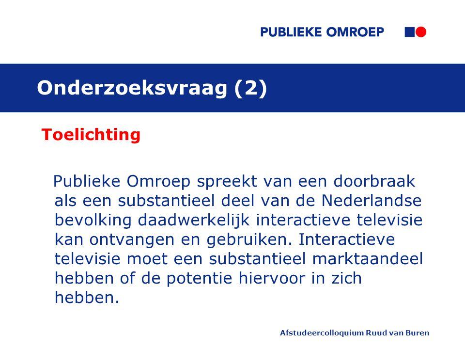Afstudeercolloquium Ruud van Buren Onderzoeksvraag (2) Toelichting Publieke Omroep spreekt van een doorbraak als een substantieel deel van de Nederlandse bevolking daadwerkelijk interactieve televisie kan ontvangen en gebruiken.