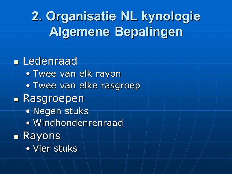 2. Organisatie NL kynologie Algemene Bepalingen Ledenraad Ledenraad Twee van elk rayonTwee van elk rayon Twee van elke rasgroepTwee van elke rasgroep