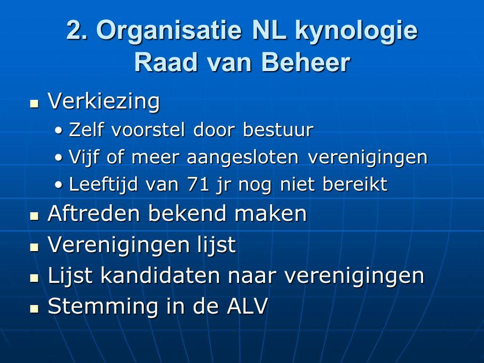 2. Organisatie NL kynologie Raad van Beheer Verkiezing Verkiezing Zelf voorstel door bestuurZelf voorstel door bestuur Vijf of meer aangesloten vereni