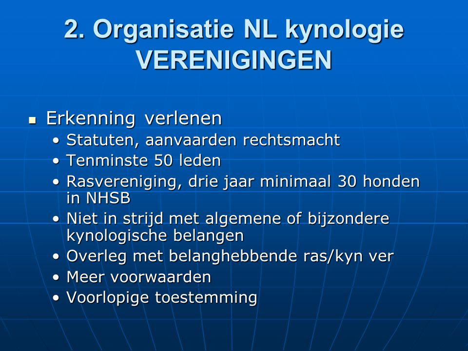 2. Organisatie NL kynologie VERENIGINGEN Erkenning verlenen Erkenning verlenen Statuten, aanvaarden rechtsmachtStatuten, aanvaarden rechtsmacht Tenmin