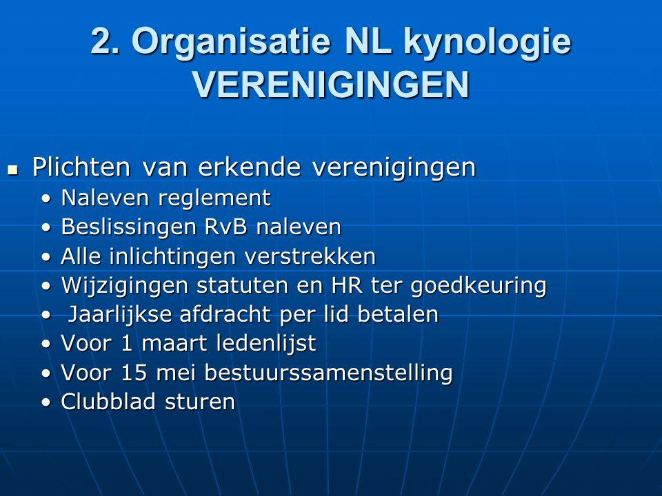 2. Organisatie NL kynologie VERENIGINGEN Plichten van erkende verenigingen Plichten van erkende verenigingen Naleven reglementNaleven reglement Beslis