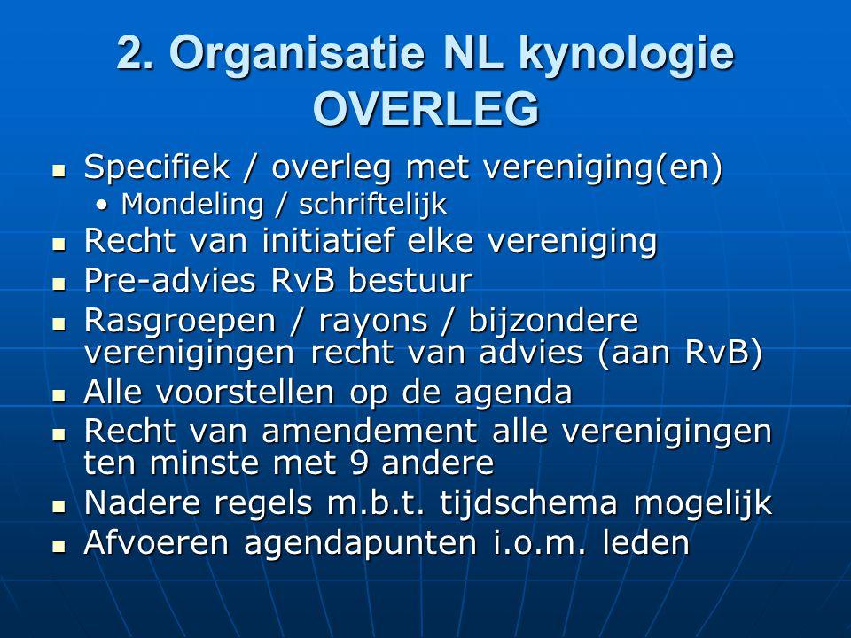 2. Organisatie NL kynologie OVERLEG Specifiek / overleg met vereniging(en) Specifiek / overleg met vereniging(en) Mondeling / schriftelijkMondeling /