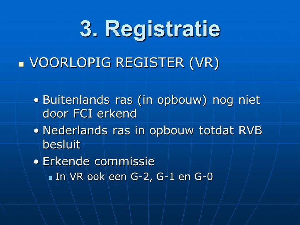3. Registratie VOORLOPIG REGISTER (VR) VOORLOPIG REGISTER (VR) Buitenlands ras (in opbouw) nog niet door FCI erkendBuitenlands ras (in opbouw) nog nie