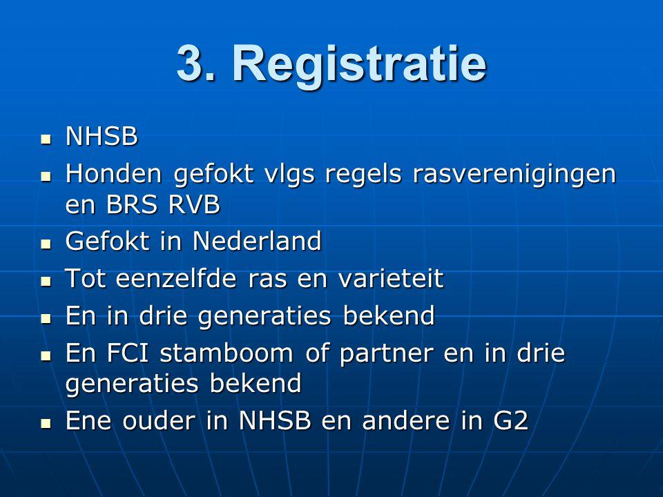 3. Registratie NHSB NHSB Honden gefokt vlgs regels rasverenigingen en BRS RVB Honden gefokt vlgs regels rasverenigingen en BRS RVB Gefokt in Nederland