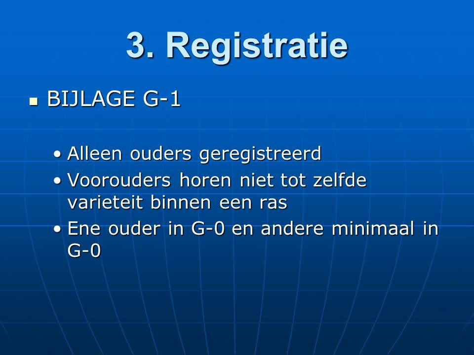 3. Registratie BIJLAGE G-1 BIJLAGE G-1 Alleen ouders geregistreerdAlleen ouders geregistreerd Voorouders horen niet tot zelfde varieteit binnen een ra
